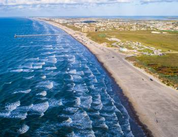 Drone Image of Pier and Water in Port Aransas, Texas.