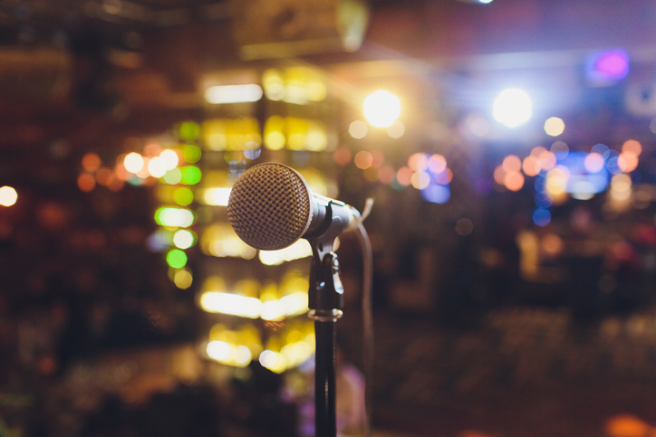A microphone sits ready for live music in Port Aransas