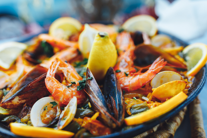 A plate of seafood